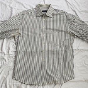 Canali Mens Dress Shirt Striped 17 43
